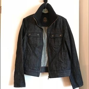 NWOT Talbots Dark Wash Zipper Front Jean Jacket